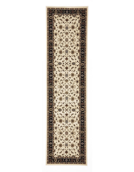 Sydney Classic Rug Runner Ivory with Black Border