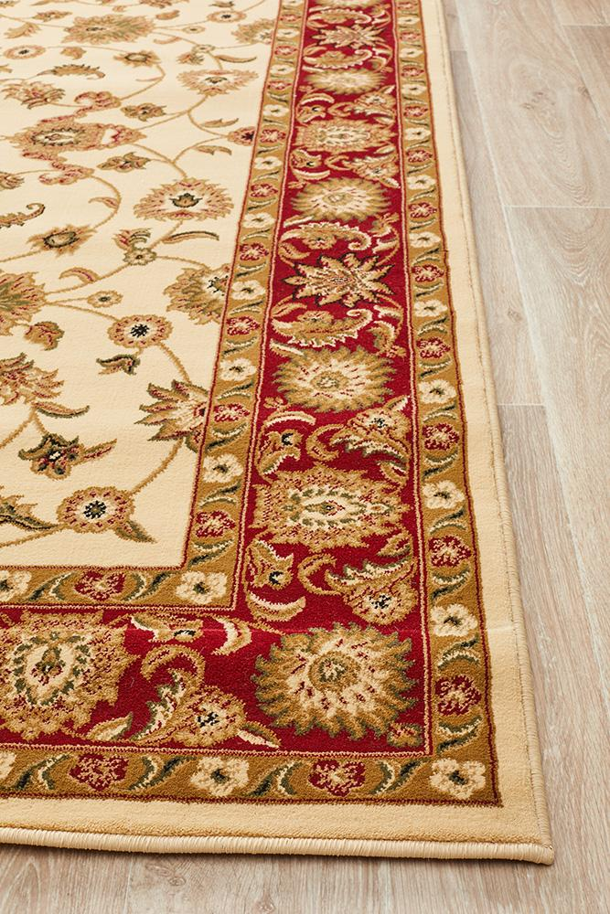Sydney Classic Rug Ivory with Red Border