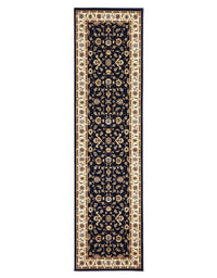 Sydney Classic Rug Runner   Blue with Ivory Border