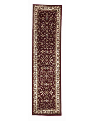 Sydney Classic Rug Runner Red with Ivory Border