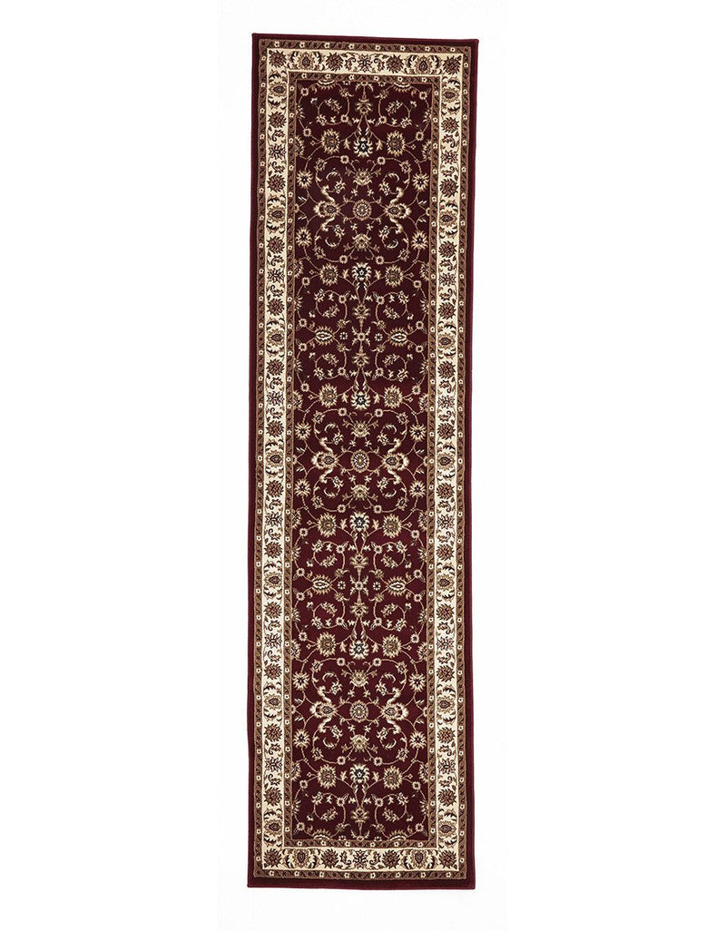 Sydney Classic Rug Runner Red with Ivory Border 400 x 80cm
