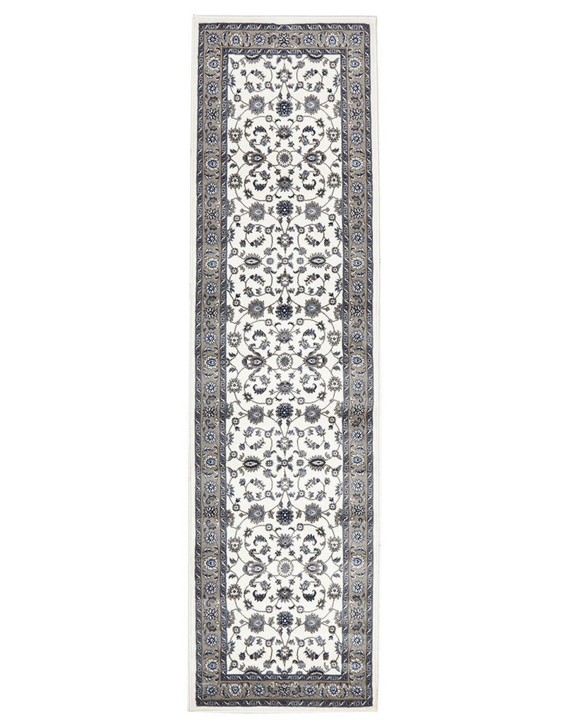 Persian Nain Design  Classic Rug Runner White with Beige Border
