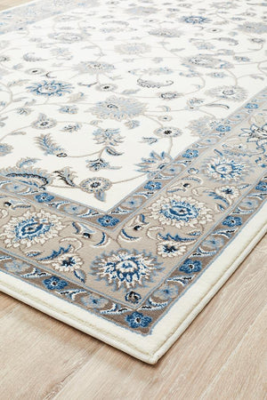 Persian Nain Design  Rug White with Beige Border
