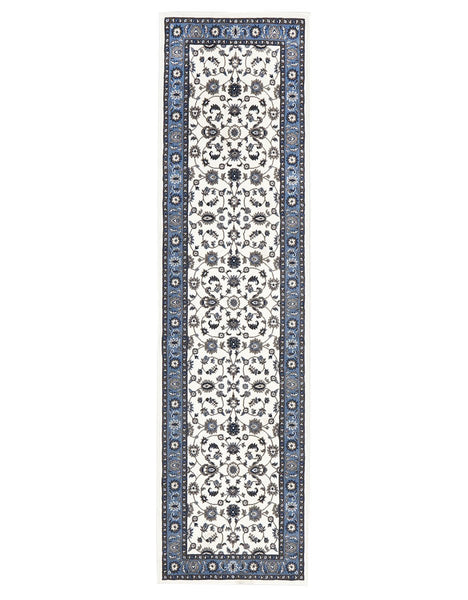 Persian Nain Design  Classic Rug Runner White with Blue Border