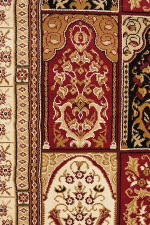 Persian design Traditional Panel Pattern Rug Burgundy