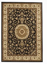 Sydney Medallion Rug Black with Ivory Border - aladdinrugs - 1