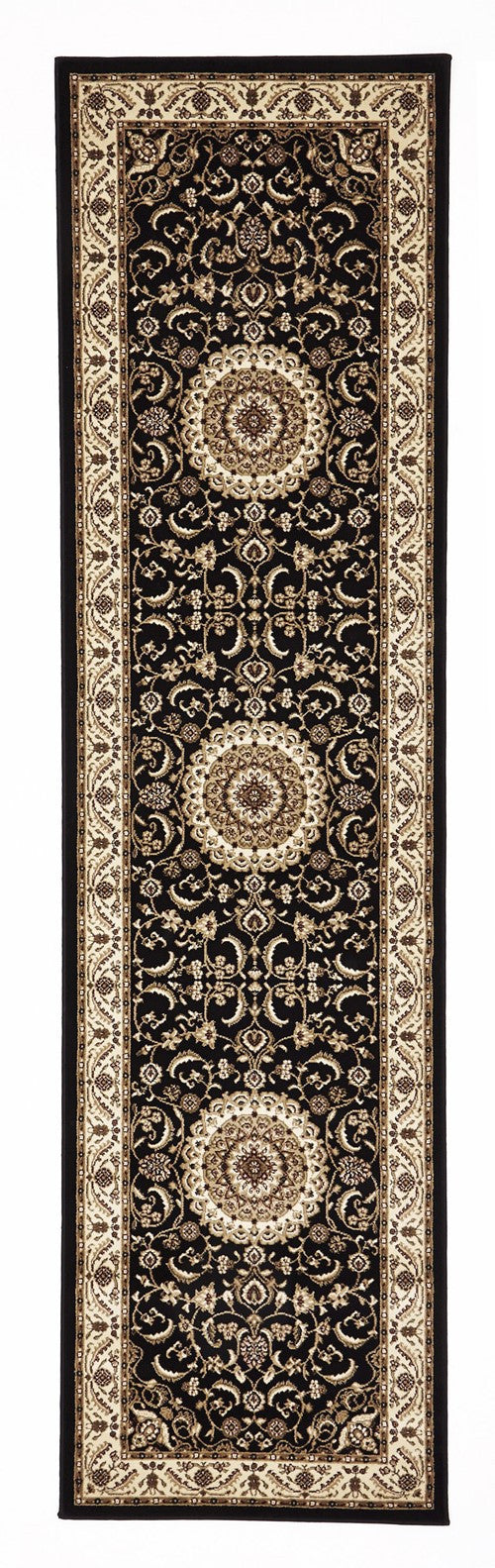 Sydney Medallion Rug Black with Ivory Border - aladdinrugs - 6