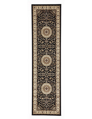 Persian Design Medallion Rug Runner Black with Ivory Border