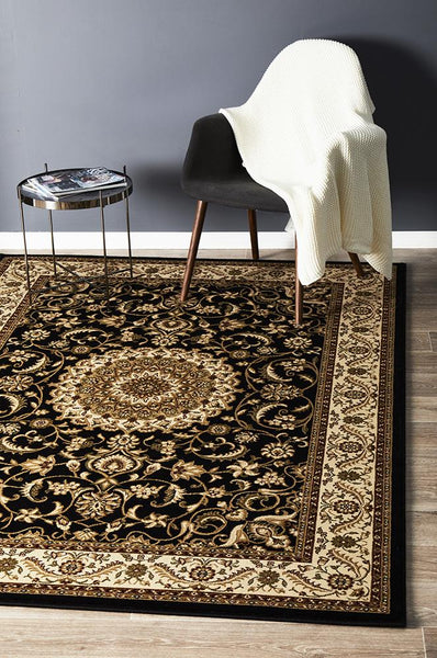 Persian Design Medallion Rug Black with Ivory Border