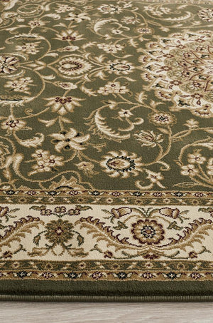 Persian design Medallion Rug Green with Ivory Border