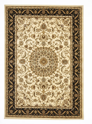 Sydney Medallion Rug Ivory with Black Border - aladdinrugs - 1