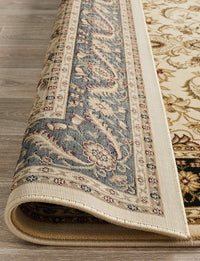 Persian design Medallion Rug Ivory with Black Border