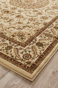 Persian design Medallion Rug Ivory with Ivory Border