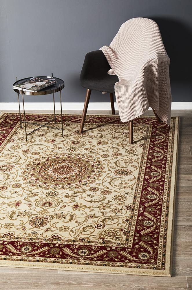 Medallion Design Rug Ivory with Red Border