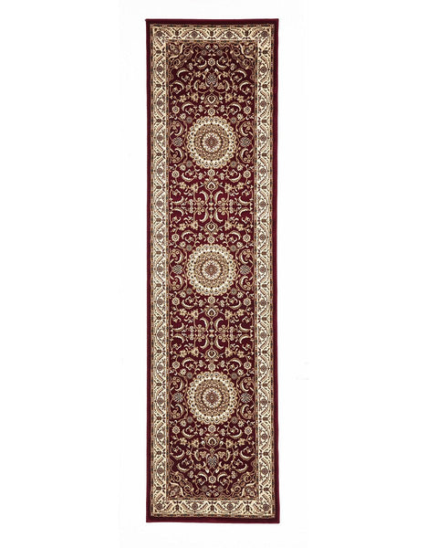 Persian Design Medallion Rug Runner Red with Ivory Border