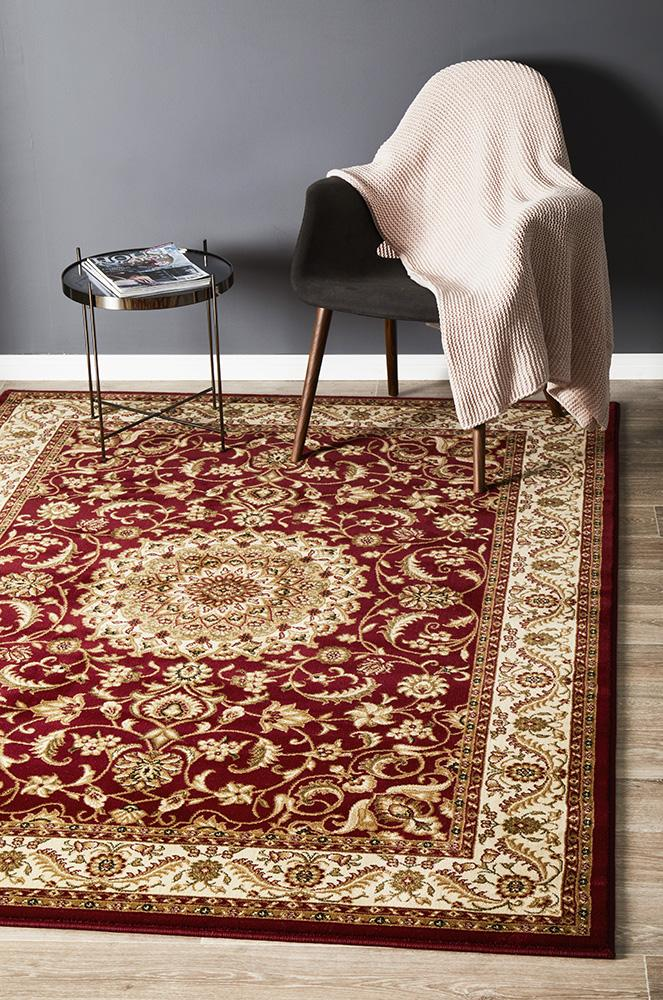 Persian design Medallion Rug Red with Ivory Border