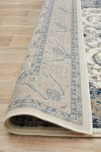 Persian designMedallion Rug White with Beige Border