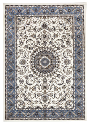 Sydney Medallion Rug White with Blue Border - aladdinrugs - 1