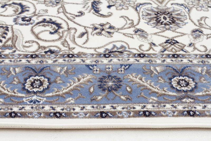 Sydney Medallion Rug White with Blue Border - aladdinrugs - 3