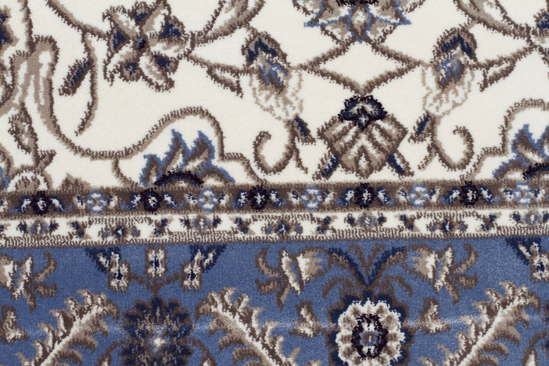 Sydney Medallion Rug White with Blue Border - aladdinrugs - 4