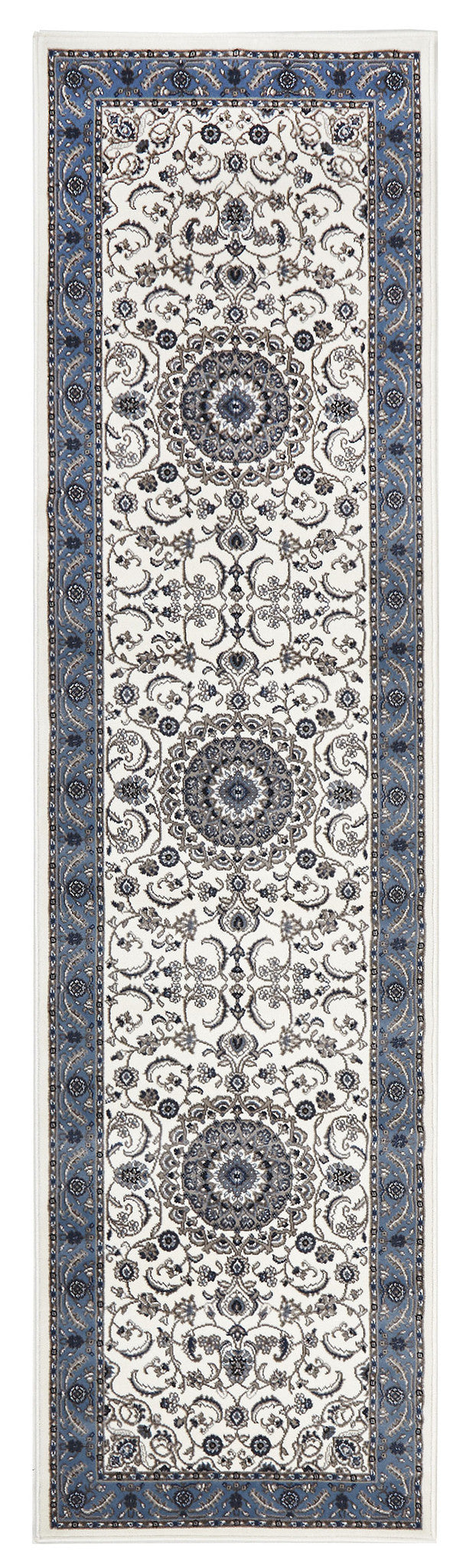 Sydney Medallion Rug White with Blue Border - aladdinrugs - 5