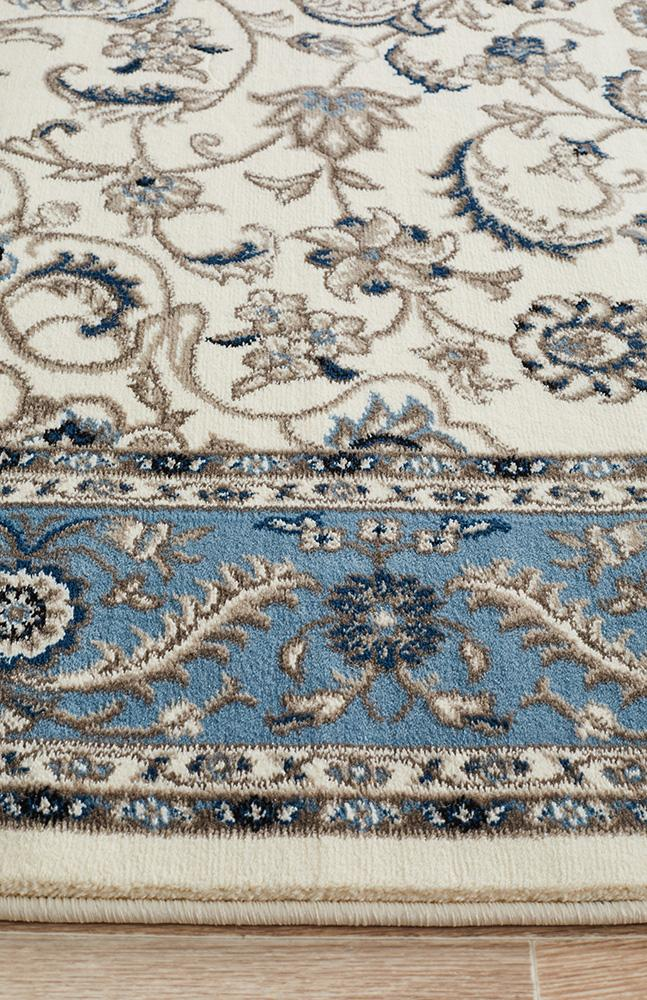 Persian Nain Design  Medallion Rug White with Blue Border
