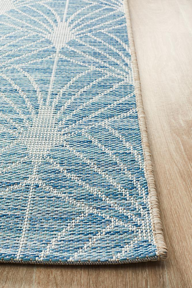 Terrace Fern Trellis Rug Blue