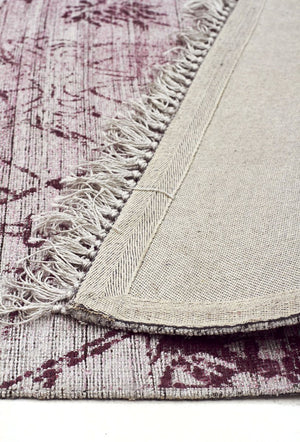 Scandinavian Style Viscose and Cotton Rose Rug