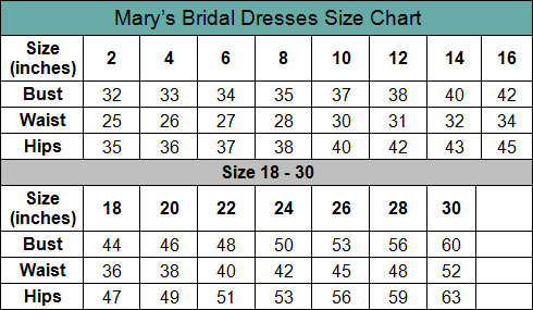 Mary's Bridal Size Chart