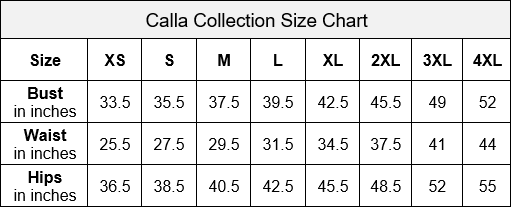 Calla Collection KY Style Adult Size Chart