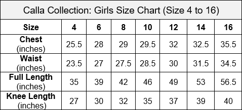 Calla Collection Junior Bridesmaid Size Chart