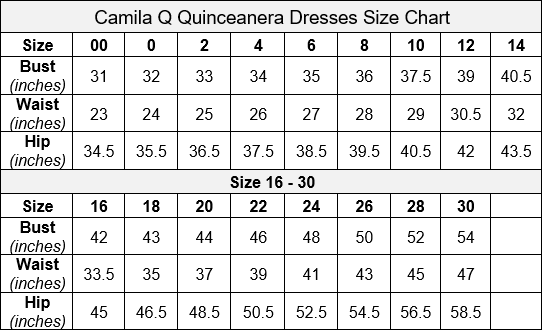Camila Q Quinceanera Dress Size Chart