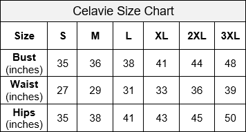 Celavie Dress Size Chart