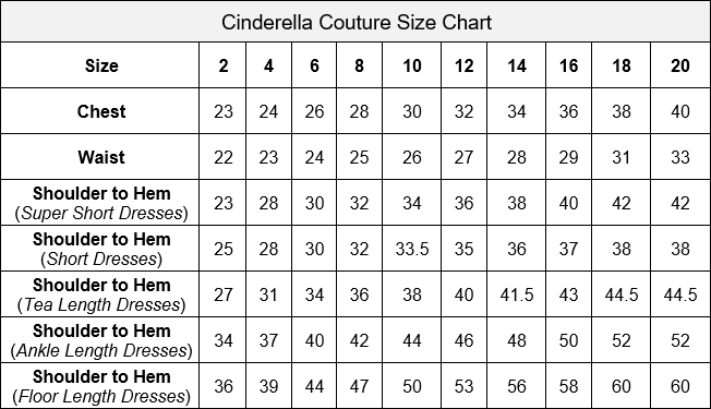 Cinderella Couture Size Chart