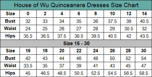 House of Wu Quinceanera Dress Size Chart