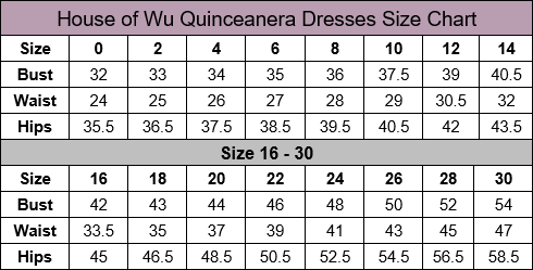 House of Wu Quinceanera Size Chart