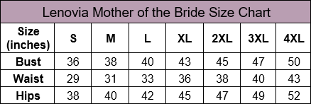 Lenovia Mother of the Bride Size Chart