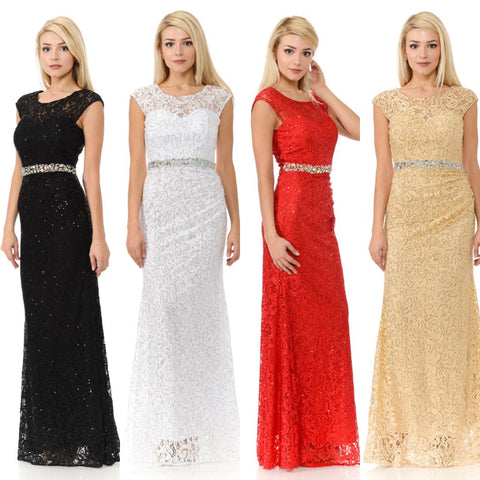 Long Cap Sleeve Lace Dress with Beaded Waist by Lenovia 5152