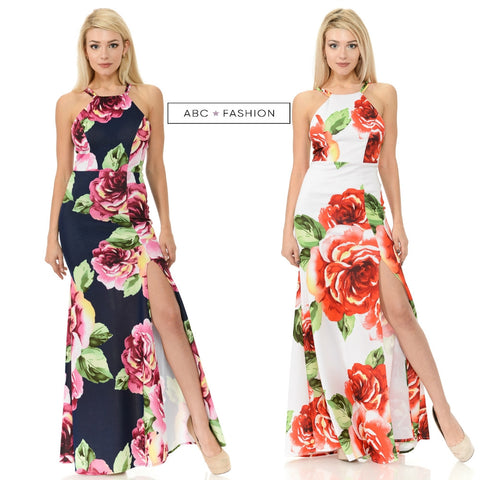 Long Floral Print Maxi Dress with Slit by Lenovia 5181
