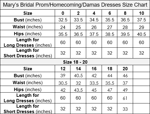Mary's Bridal Prom Size Chart