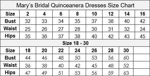 Mary's Bridal Quinceanera Carryover Size Chart