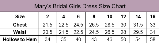 Mary's Bridal Flower Girl Size Chart