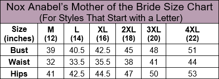 Nox Anabel Mother of the Bride Letter Size Chart