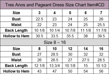Calla Collection 3 Anos Dress Size Chart