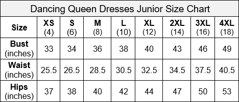 Dancing Queen Junior Size Chart