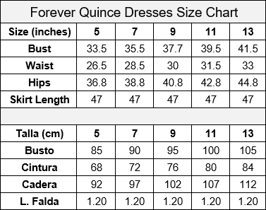 Forever Quince by Ragazza Size Chart