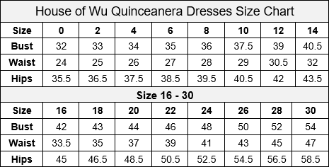 House of Wu Quinceanera Collection Size Chart