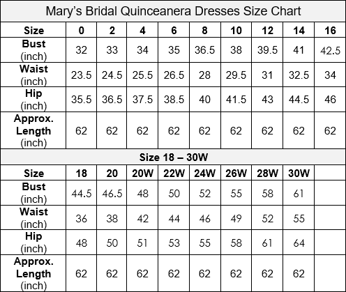 Mary's Bridal Quinceanera Size Chart