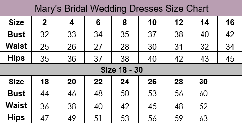 Mary's Bridal Wedding Dress Size Chart