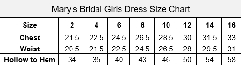 Mary's Bridal Girls Dress Size Chart